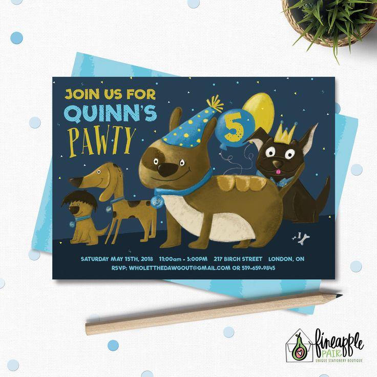 Adopt A Pet Birthday, Dog Birthday Invite, Boy Birthday, Dog Boy, Adopt A Pet Invitation, Dog Party, Navy Blue, Yellow, Dog by FineapplePair on Etsy