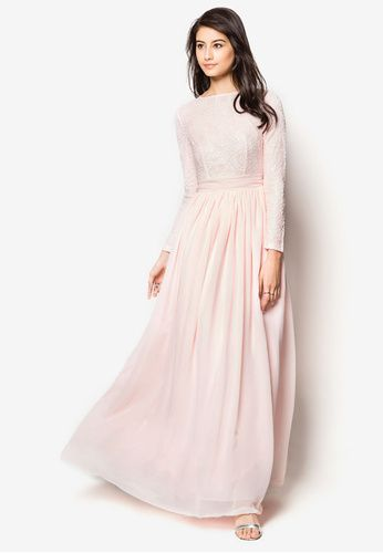 Lace Fit & Flare Chiffon Maxi Dress