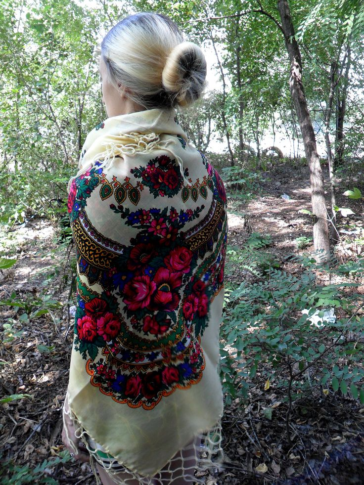 invitation to wedding ukrainian textiles and traditions%0A Magnificent vintage big ivory Ukrainian shawl with traditional floral  ornaments  Was made in Soviet times in USSR in All space richly decorated  with