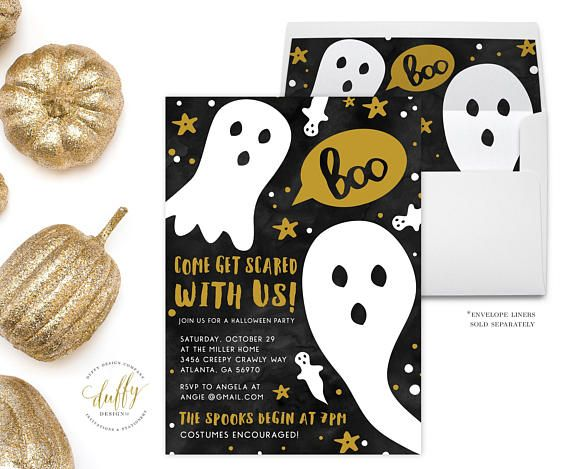 These Come get scared with us ghost Halloween party invitations are the perfect invitations for a spooky affair!  ::::::::::: WHATS INCLUDED ::::::::::  ★ DIGITAL FILE ONLY - This invitation measures 5 x 7 and comes to you in a high quality PDF and Jpeg. No printed items will be shipped when you purchase the digital invite only. These are sent as a jpeg and pdf file, can easily be uploaded to online printer, taken to local printer or printed from the comfort of you own home. Please email me…