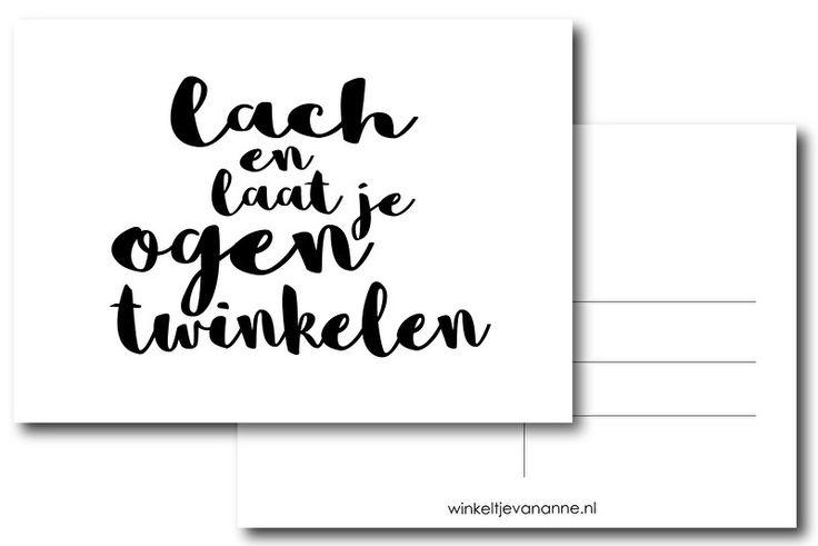 Ansichtkaart in zwart-wit met de tekst Lach en laat je ogen twinkelen! kaart post monochrome decoratie kinderkamer babykamer kinderkaartjes kinderkaarten
