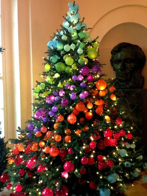 White House rainbow ombre Christmas tree