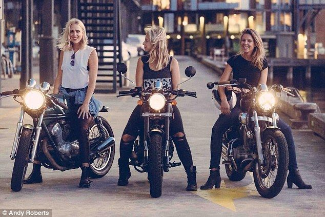 The Throttle Dolls: (L-R)Maria Adzersen,Erica Valenti, andNina Hoglund are an all-girls motorcycle group in Sydney