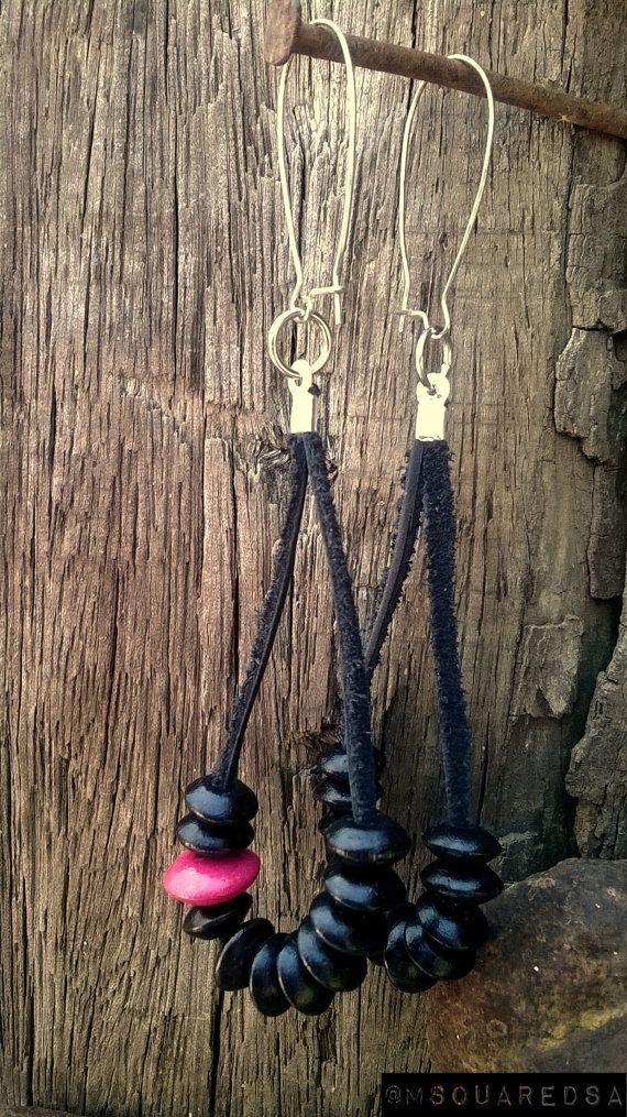 Black Leather & Beads Earrings woodpinkdangle by MSquaredSA, $6.00