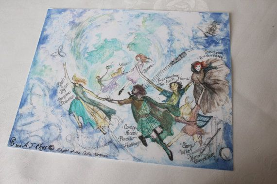 """$12 - Click Above for Details! Original Watercolor Print """"The Flight of the Celtic Nations"""" (The Seven Celtic Nations) by LittleBettsBoutique"""