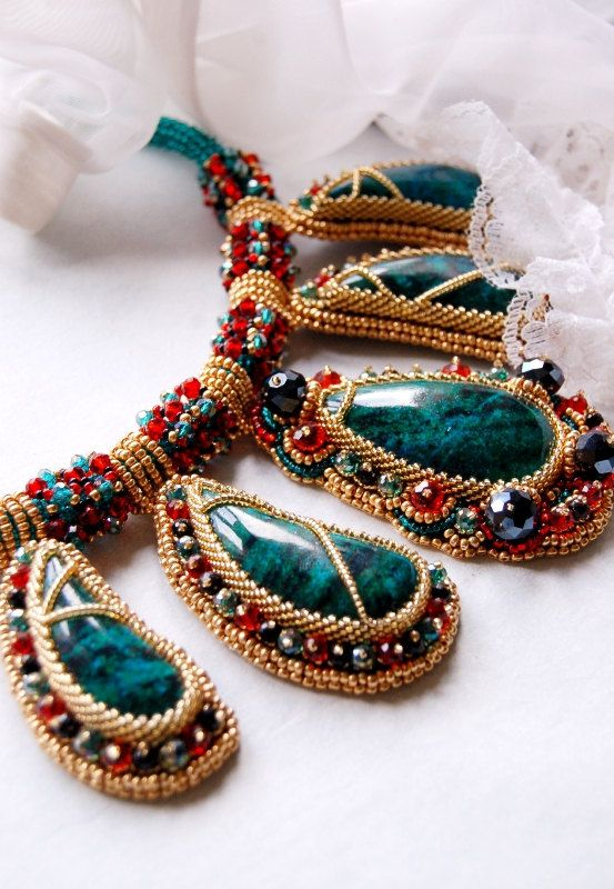 Colorful beaded necklace with chrysocolla. $245.00, via Etsy.
