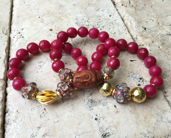 Dark Fuchsia Jade With Ojime Buddha Triple by JewelrybyKellyWalker