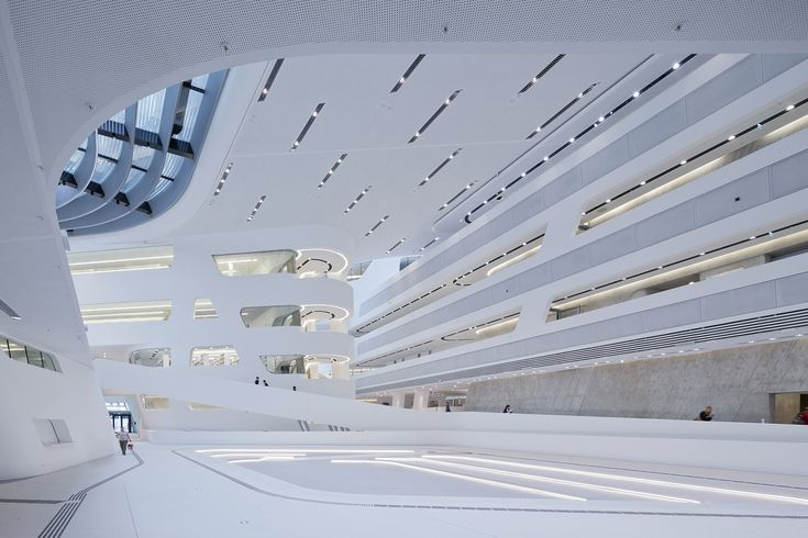 Gallery of Library and Learning Centre University of Economics Vienna / Zaha Hadid Architects. Some parts of the walls are cladded with HAVER Architectural Mesh.