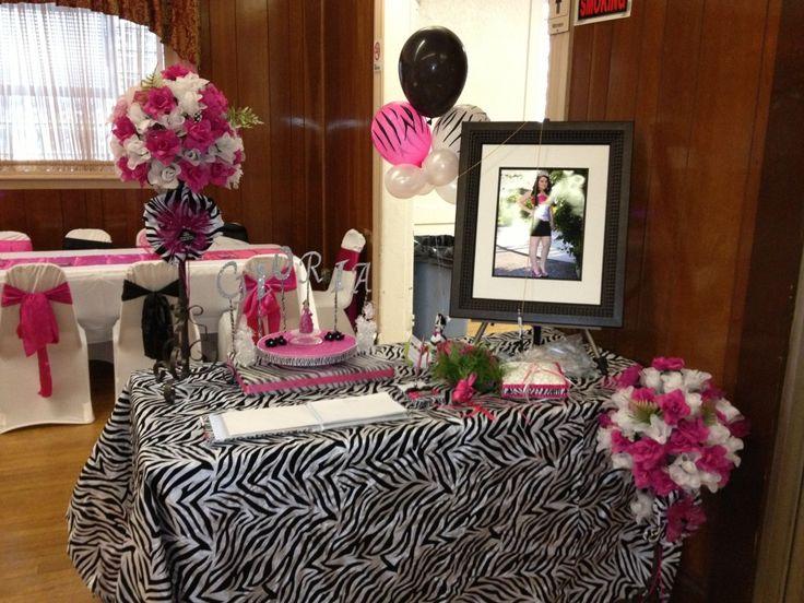 quinceanera zebra hot pink decoration ideas seshalyns party ideas