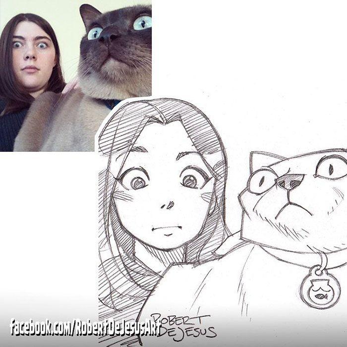 Ce dessinateur transforme les gens et leurs animaux en personnages de bandes dessinées... Le résultat est excellent !