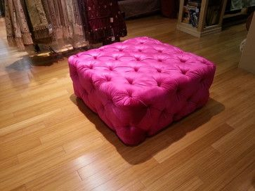 Contemporary Large Ottoman Diamond Button Tufted Stool High Quality CUSTOM  Made In USA!