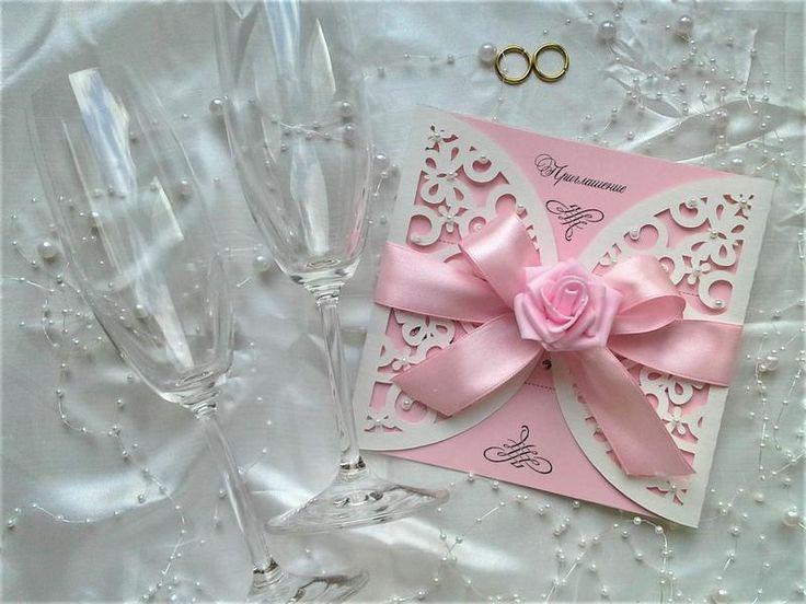 Ажурные свадебные пригласительные ручной работы.  Красивые приглашения на свадебное торжество сделаны из итальянской бумаги для дизайна. Два ...
