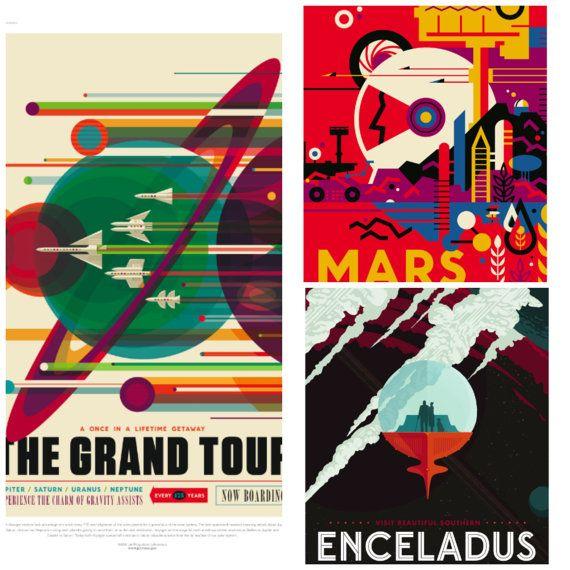 Nasa / JPL Poster Galaxy Travel Posters  Set of 3 by PearlShoreCat