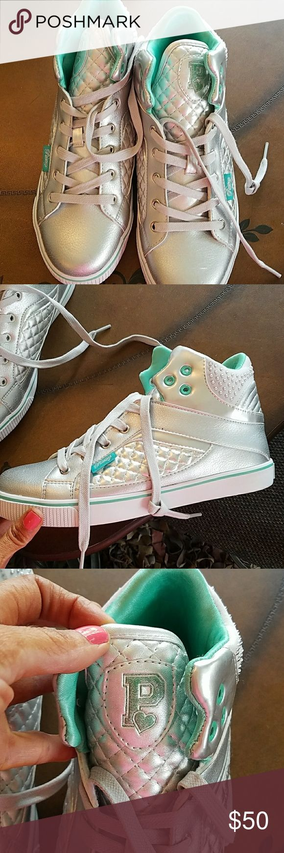 💖Brand new stylish kicks!!! 💖Silver shiny tennis shoes made for fun and not exercise!!! These will look great with leggings or jeans or shorts. Very different!!! SO CUTE!!!❣❣❣ love pastry Shoes Athletic Shoes