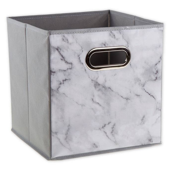 Relaxed Living Marble White 11 Inch Square Collapsible Storage Bin Collapsible Storage Bins Marble Room Decor Storage Bin