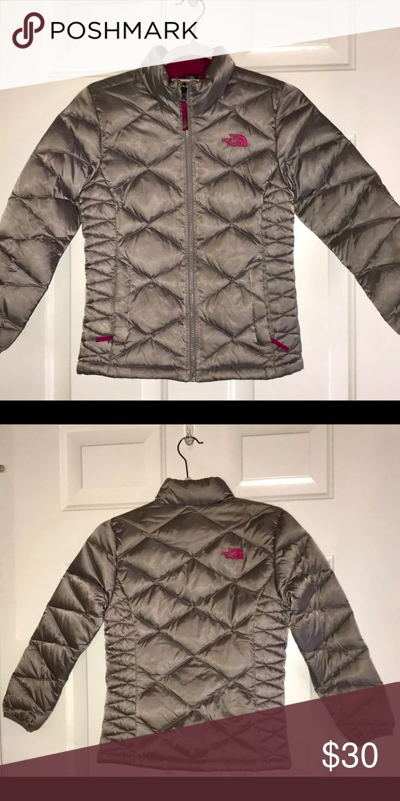 Kids North Face Aconcagua Down Jacket Kids NF Coat Silver with Hot Pink Print North Face Jackets & Coats Puffers