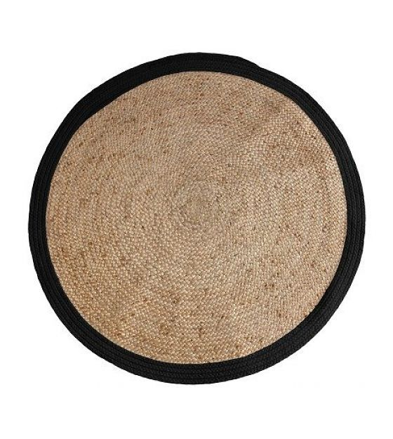 HK-living Teppich rund mit schwarzen Rand, Ø120cm - lefliving.de