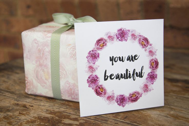 'You are beautiful' gift card. Thick, matte and textured card Embossed text and floral wreathe Handpainted, watercolour florals  #giftwrap #wrappingpaper #craft #paper #watercolour #florals #card #giftcards #quotes #inspiration #celebrate #birthday