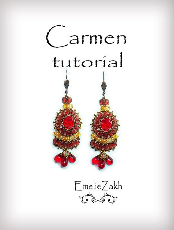 Carmen Beading tutorial.Beaded pattern earrings. ! PDF file containing instructions .