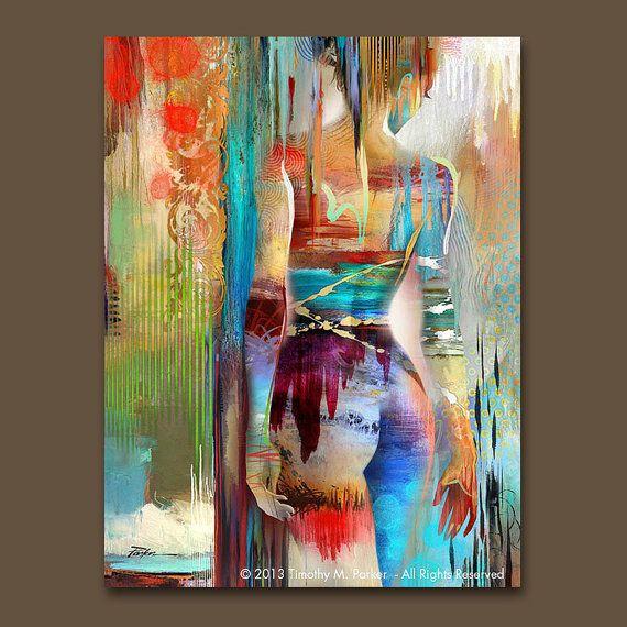 SPECTRALE #2 - Fine Art Print op geweven papier of op Canvas - gelimiteerde oplage van 295 Dit abstracte figuratief kunstwerk combineert de