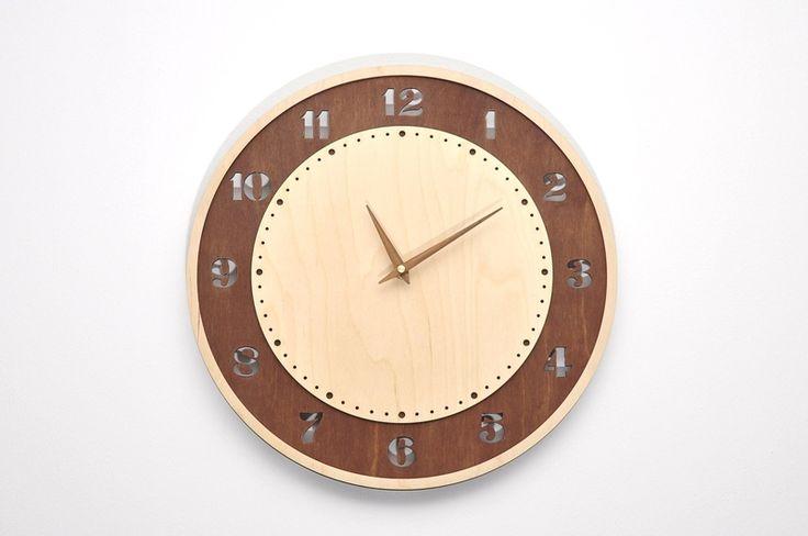 Nowoczesny drewniany prezent zegar ścienny AJ w NIUS SHOP na DaWanda.com