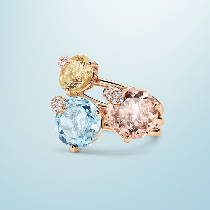 Triple rings - 18K rose gold, beryl/morganite/aquamarine round cut total 1.76 ct., 9 diamonds brilliant cut total 0.03 ct  #Bucherer #Peekaboo #finejewellery