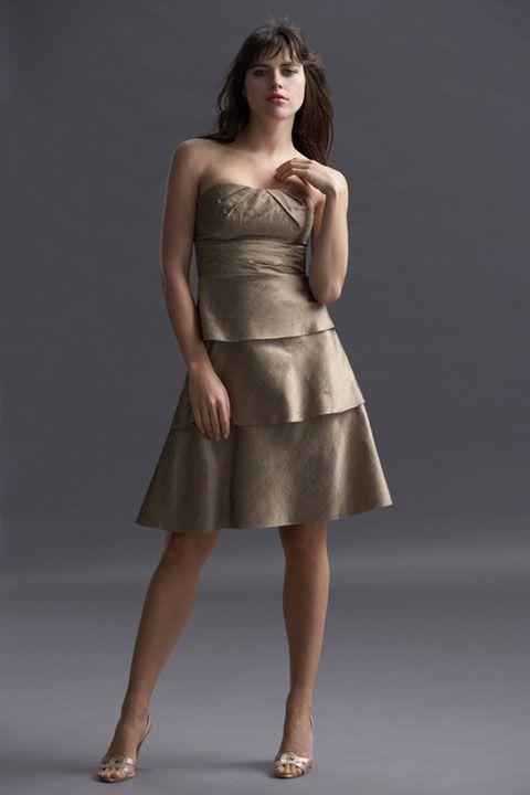 Strapless taffeta bridesmaid dress with empire waist