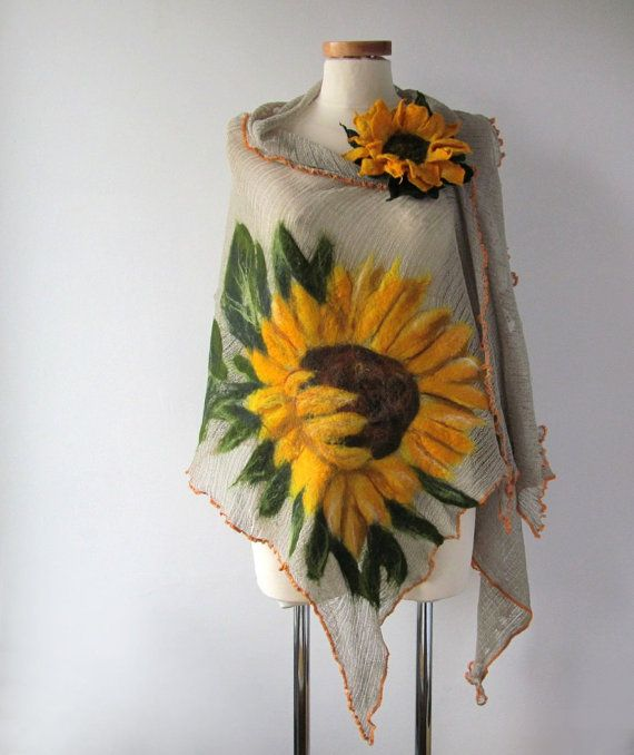 Linen shawl knit jersey felted aplication Sunflower flower natural flax