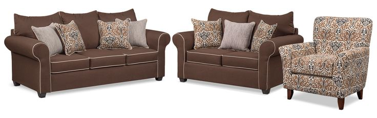 Living Room Furniture - Carla Sofa, Loveseat and Accent Chair Set - Chocolate