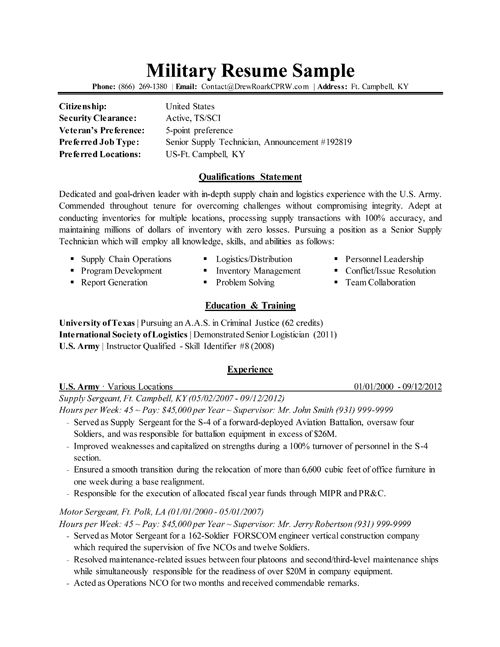 Military To Civilian Resume Example Military Resume Samples
