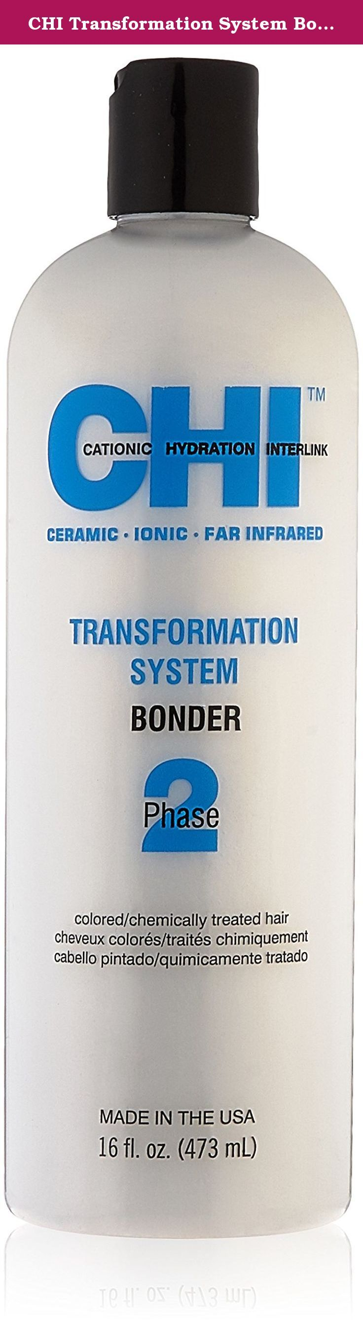 CHI Transformation System Bonder Phase 2 Dye for Colored/Chemically Treated Hair, 16 fl. oz. CHI Transformation System The CHI Transformation System is an Advanced American Technology system utilizing ceramic heat, negative ions, pure natural silk, and Cationic Hydration Interlink to transform hair from frizzy, curly, wavy, or even coarse straight hair into silky, beautiful, controlled hair.