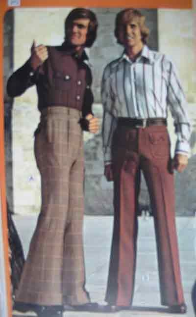 1970's: high-waisted pants, plaid, bell-bottoms, tucked in button down shirts, wide collars,longer hair
