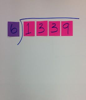 Post It Note Division for struggling learners