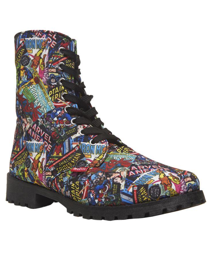Marvel Comics™ Printed Combat Boots Marvel Comics™ Printed Combat Boots