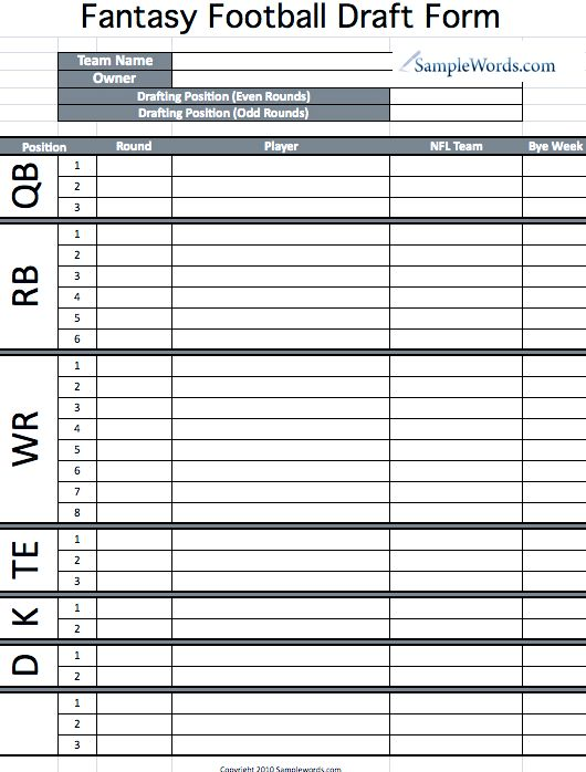 Printable Fantasy Football Draft Form – Football Roster Template