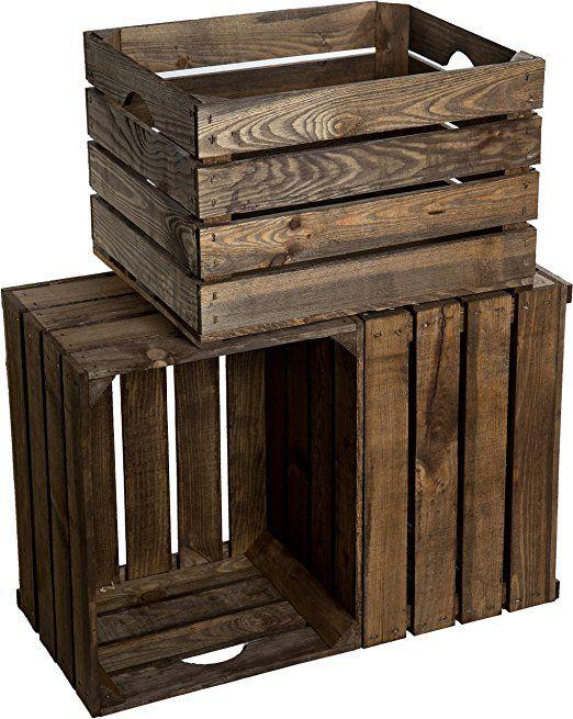 Holzkisten als Bücherregal, Deko, Aufbewahrungskisten oder als kleiner Beistelltisch.