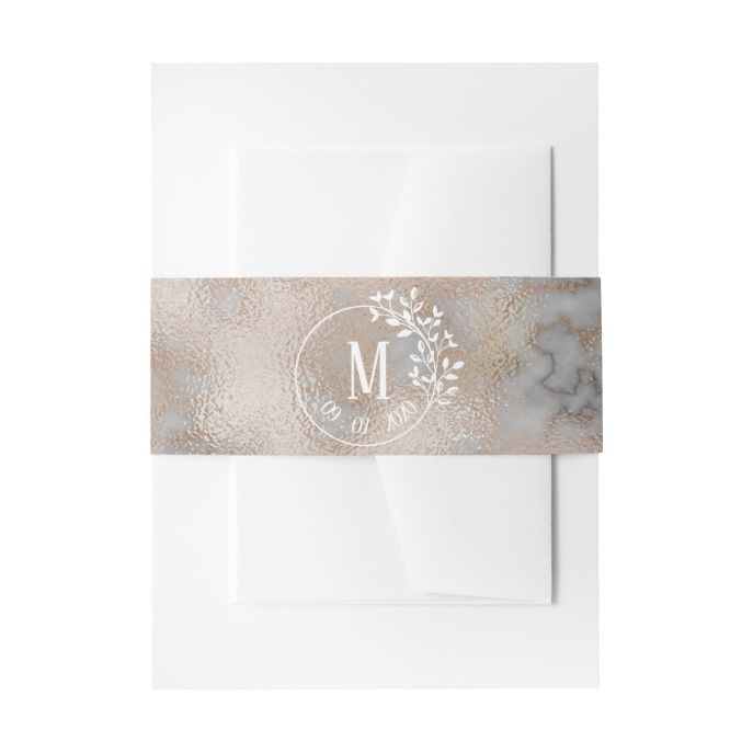 royal veined marble effect floral wreath wedding invitation belly