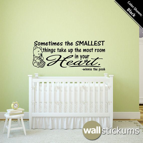 Simple winnie the pooh removable wall decals Wall Decal Quote Winnie the Pooh Smallest Things