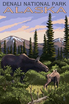 Denali National Park, Alaska - Moose & Calf - Lantern Press Poster