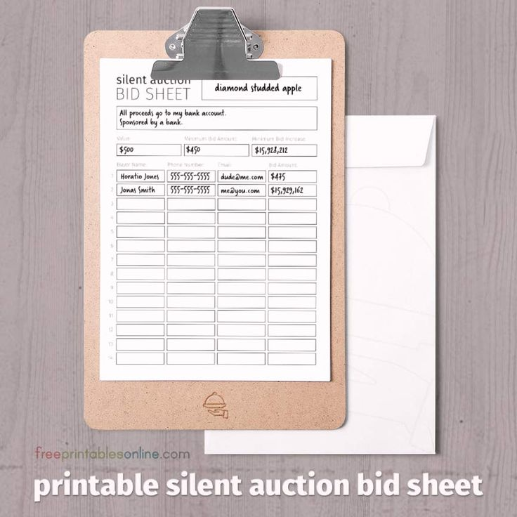 Free black and white printable silent auction bid sheet with space for auction information and bidders' details.