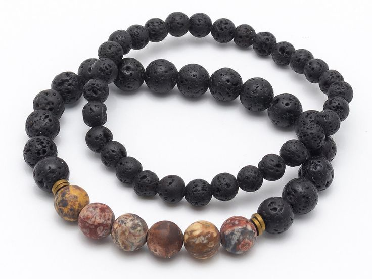 Mens Armbands – Set male bracelets lava jasper – a unique product by Blackif on DaWanda