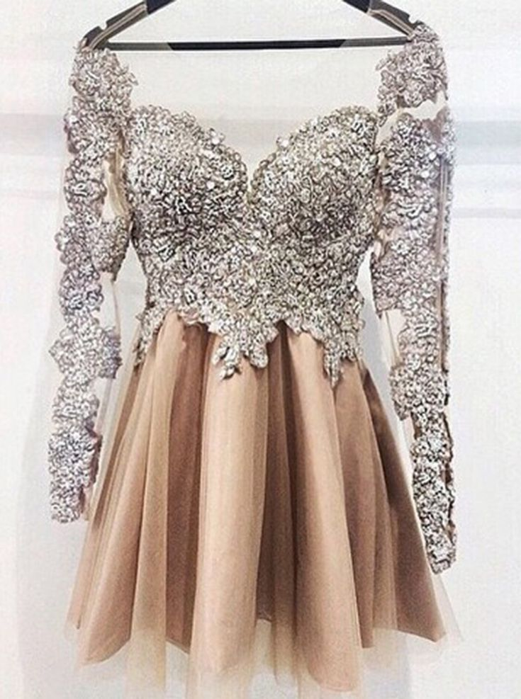 Luxious Illusion Jewel Neck Long Sleeves Champagne Homecoming Dress Beading