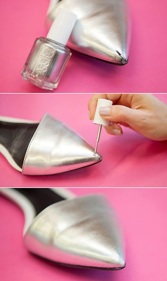 Cover up a scratch on scuffed shoes or boots. Unconventional Ways to Use Nail Polish - Nail Polish Quick Fixes - Cosmopolitan