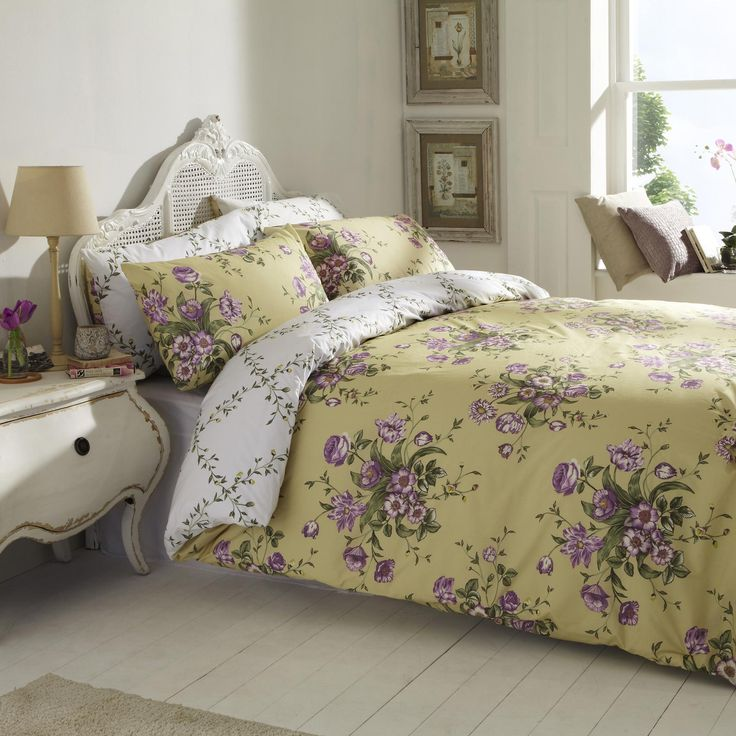 vantona olivia floral design duvet cover set gold yellow purple bedding classic