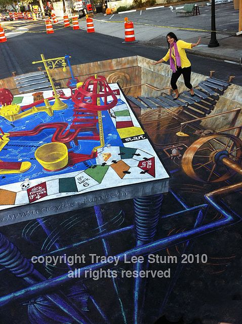 3d street painting - mouse trap detail