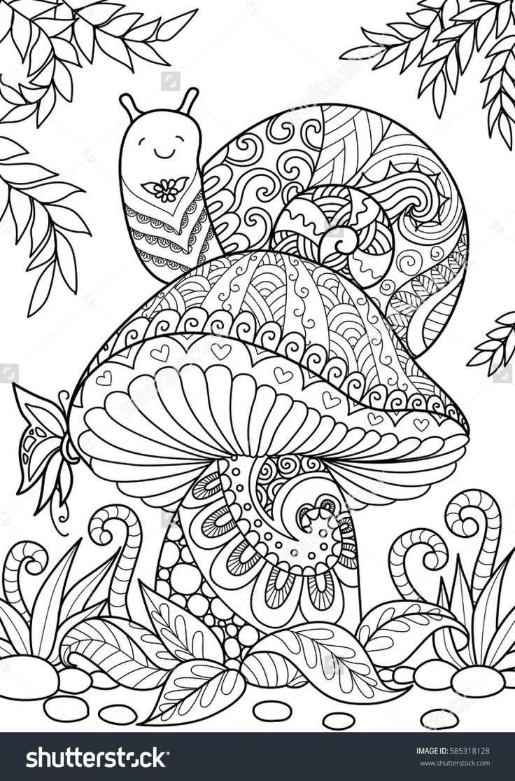 Adults colouring book pages - Snail Sitting On Beautiful Mushroom Adult Coloring Book Page