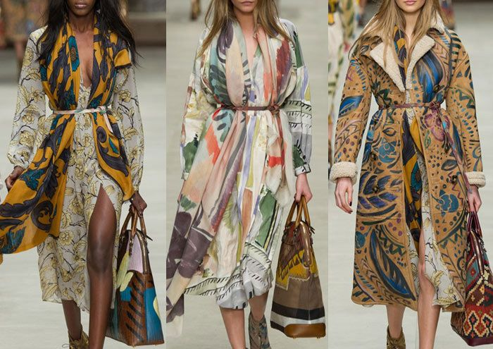 Burberry - London Fashion Week – Autumn/Winter 2014/2015 – Print Highlights – Part 2 catwalks Painterly Blooms – Flowing Pattern – Brushstroke Florals – Contrasting Geometric Pattern – Oversized Prints – High Contrast Pattern – Mixed Scale – One Colour Prints – Hand Painted Motif