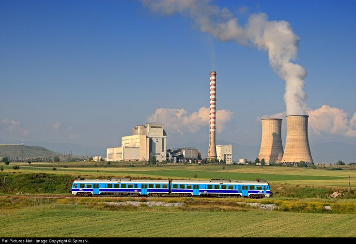 A dmu unit on the way to Kozani, crossing one of the many steam electric powers of Ptolemaeda plantation.