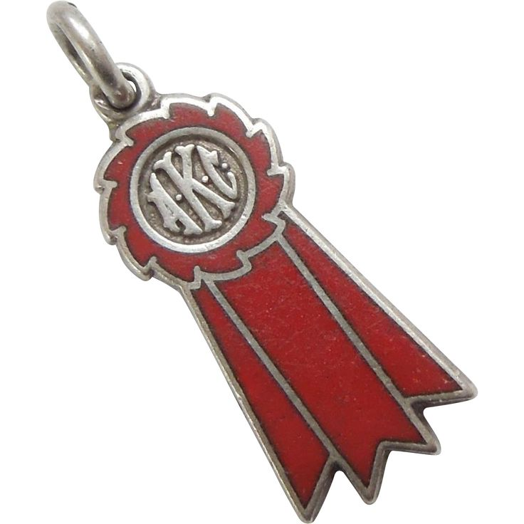 AKC Dog Show Winner's Sterling Silver and Enamel Ribbon Charm – Red Ribbon 2nd Place..