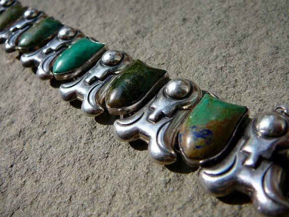 Taxco Bracelet, Taxco Silver, Piedra, Felipe Martinez Piedra Y Plata, Taxco Jewelry, Green Bracelet, Silver Cuff Bracelet, Silver Cuff
